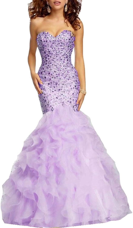 Ai Maria Women's Sweetheart Mermaid Bright Diamond Dress with Flower Tail