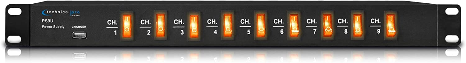 Technical Pro Electric Rack Mount Power Supply Surge Protector with 9 Power switches, 1800 Watts Max Load, 5V USB Charging Port, 9 Outlet High Load Power Cord (4 Foot)…