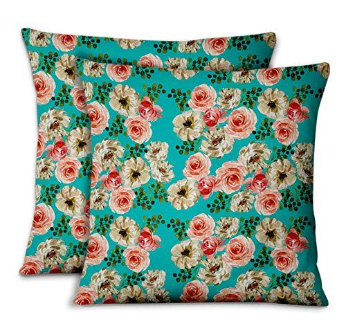 S4Sassy Vert Popeline de Coton Ranunculus avec Bouquet dicor'la Maison taie d'oreiller Jeter Housse de Coussin en Tissu imprimi 2pièces-18 x 18 Pouces