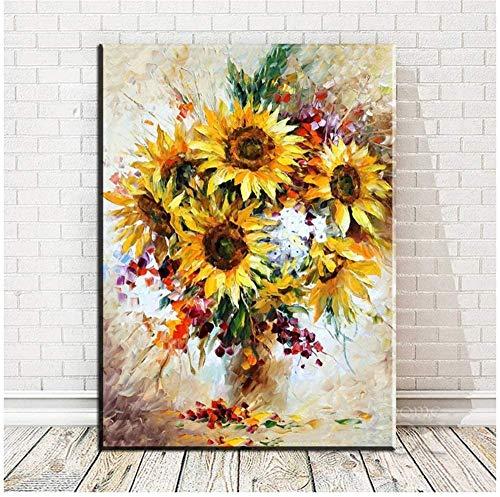 Surfilter Print auf Leinwand Vase mit Sonnenblumen Wandkunst Drucke Wandmalerei Wandbild Wohnzimmer Kunst Leinwand Poster Gemälde Dekorativ 19.6& rdquo; x 27.5& rdquo; (50x70cm) Kein Rahmen