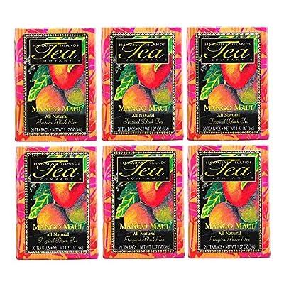 Hawaiian Islands Mango Maui Tropical Black Tea, All Natural - (Six 1.27 Oz. Boxes with 20 Tea Bags Per Box)