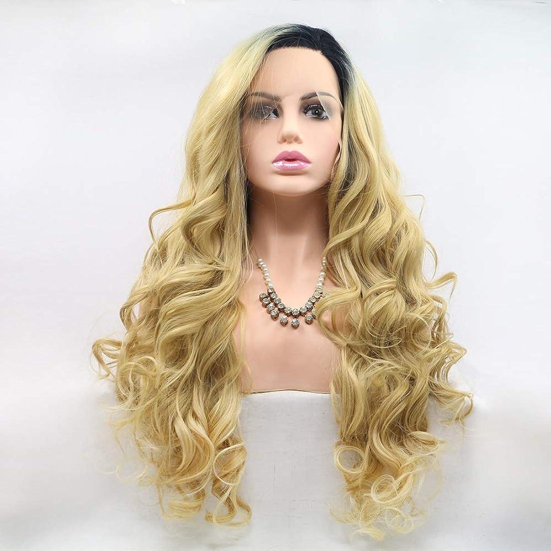 巻き戻す原子問い合わせZXF フロントレースの化学繊維かつらヨーロッパ人とアメリカ人の女性の小さいボリュームの長い巻き毛のグラデーションの大きいボリューム 美しい