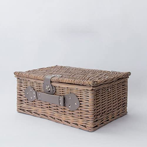 Aufbewahrungstaschen Xuan - Worth Another Holz Farbe Kreative Einfachheit Rattan Sammlung Korb mit Deckel Picknickkorb Snack Box Retro Finishing Box