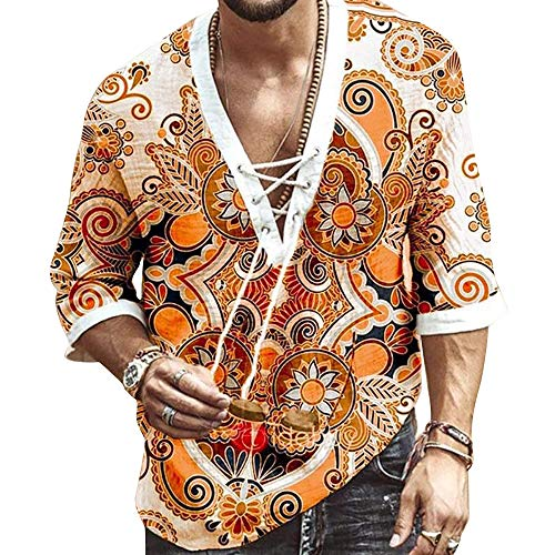 Camiseta de moda superior de yoga con cuello en V para hombre Camisas hippie Camisa de manga corta con estampado de cordón Camiseta de lino de algodón Camisa de yoga Ropa de playa africana de verano