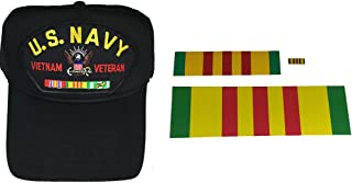 COMBO GIFT SET US NAVY VIETNAM VETERAN WITH CAMPAIGN RIBBONS HAT, DECALS AND PIN - BLACK - Veteran Owned Business