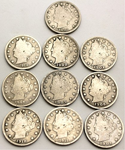 """10 Different Date Liberty """"V"""" Nickels W/1883 """"No Cents"""" - 1883-1912"""