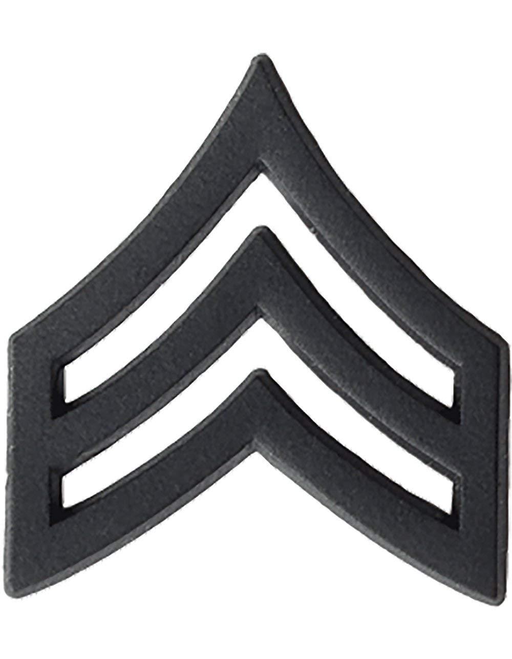 1 PAIR U.S Army Metal Pin On Enlisted Rank BLACK
