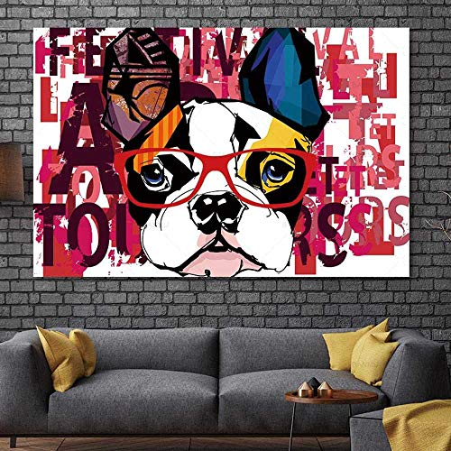 Cuadro en lienzo abstracto cuadro animal perro Cuadro arte pared Pintura al óleo sobre lienzo La impresión en lienzo Sala de estar Arte de la pared 70x100cm, sin marco