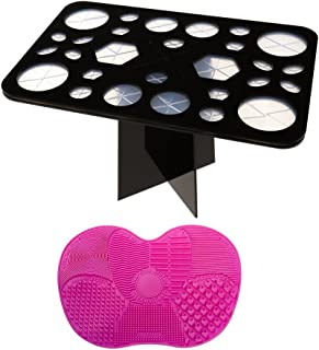 Twinsisi 28 Holes Makeup Brush Holders Drying Rack Tree Air Tower Organizer Tools with Makeup Brush Cleaning Mat
