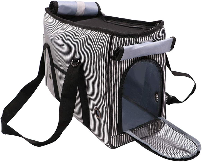 Pet Travel Tote, Black & White Stripe Dog Carriers Bag, with Ventilation, Shoulder Strap, Soft Comfort Oxford Hand Bag for Dogs Cat