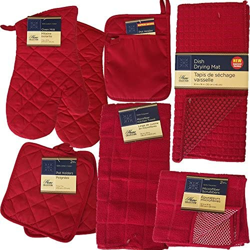 This Red Kitchen Starter Set Has Oven Mitts Pot Holders Kitchen Towels Micro Scrubber Dish Cloths product image