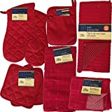 This (Red) Kitchen Starter Set Has Oven Mitts, Pot Holders, Kitchen Towels, Micro-Scrubber Dish Cloths, A Drying Mat, a Refrigerator Magnet Filled With Kitchen Safety Tips and more.