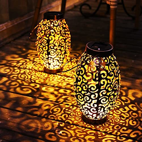 2 Pack Solar Lanterns Garden Lights Outdoor Hanging San Francisco Mall L Max 77% OFF