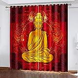 LucaSng Cortinas Opacas Habitacion Salon 3D Buda Rojo Abstracto Religión Patrón Cortinas 150X270CM (An X Al) Dormitorio Infantil con Ojales para Hogar Frio Calor Decoración Termicas Aislantes