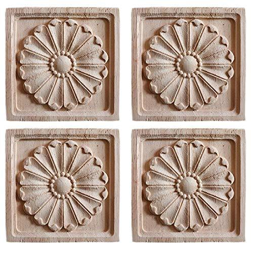 Bverionant 4Piezas Maderas Talladas Cuadradas Apliques Tallados sin Pintar Decoración de Mueble Artesanía en Madera para Armario Puerta Cama #7