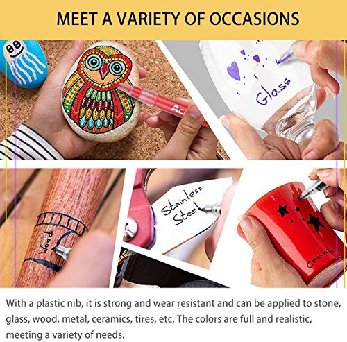 36 Colors Acrylic Paint Ink Marker 0.7mm Marker Pens DIY Craft Painting Supplies, Paints for Rock Painting Waterproof, Ceramic, Glass, Wood, Canvas, Mugs, for Kids Birthday, Students Award