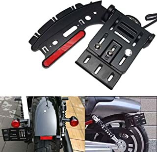 Beautyexpectly Black Motorcycle Folding Side Mount License Plate Light Bracket For Harley Sportster XL 883 1200 2004-2016 Sporster Models With The Bobber Rear Fender
