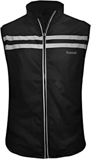 Priessei Men's Running Cycling Vest Reflective and Windproof Safety Bike Vest