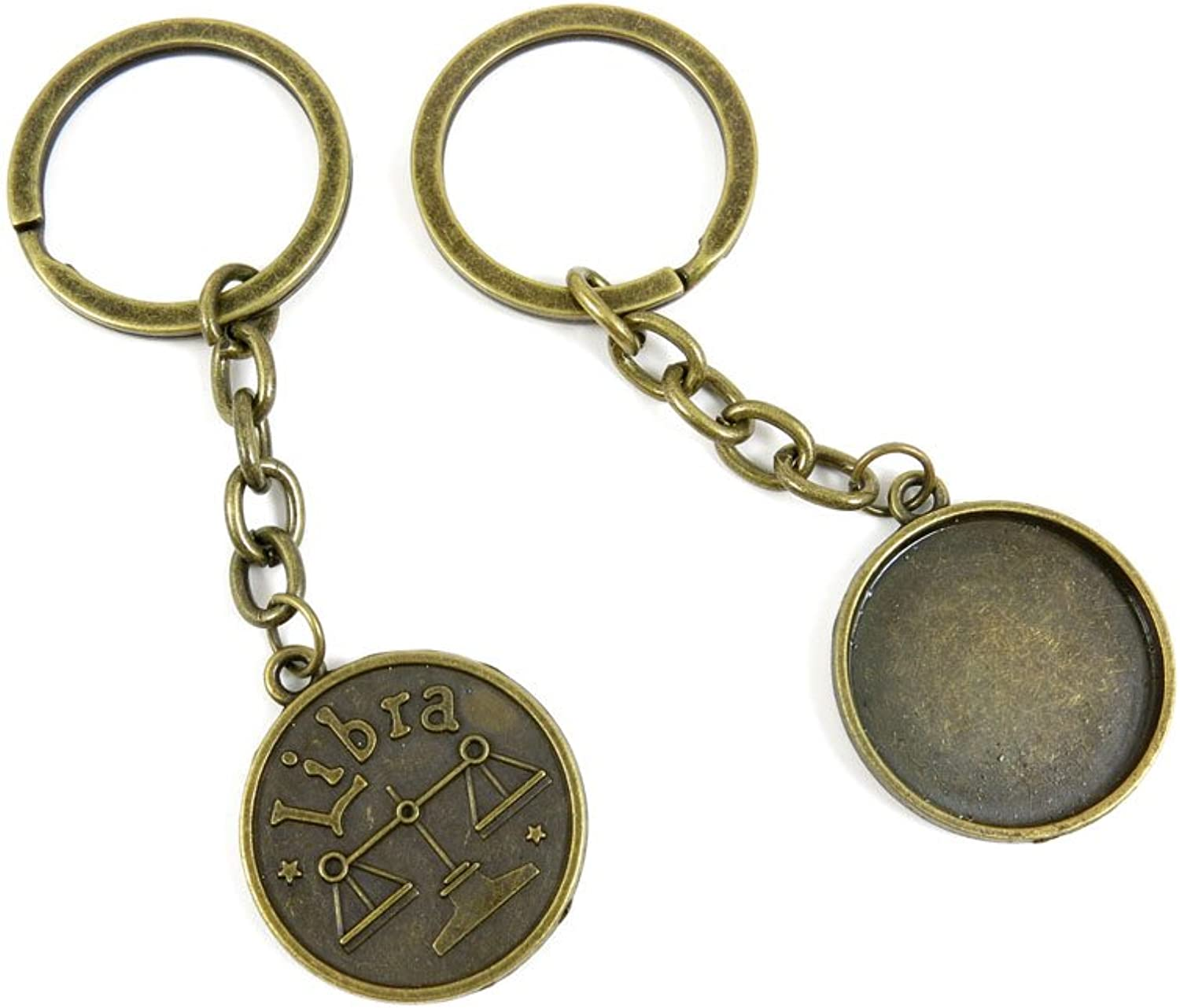170 Pieces Fashion Jewelry Keyring Keychain Door Car Key Tag Ring Chain Supplier Supply Wholesale Bulk Lots R9FP2 Libra Cabochon Blank Base