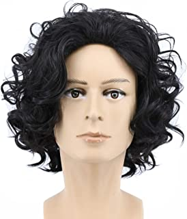 Yuehong Short Curly Natural Black Color Anime Men Cosplay Wig Synthetic Halloween Costume Hair Wigs