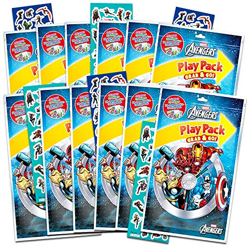 Marvel Avengers Party Favors Pack ~ Bundle of 12 Avengers Play Packs with Stickers, Coloring Books, and Crayons (Avengers Party Supplies)