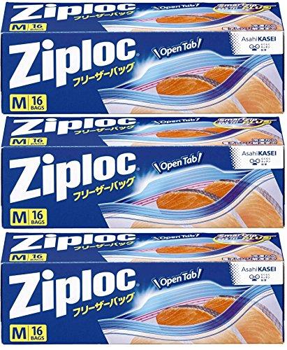 【3個セット】ジップロック フリーザーバッグ Mサイズ 16枚入 ジッパー付き保存袋 冷凍・解凍用 (縦18.9cm×横17.7cm)【お買い得】