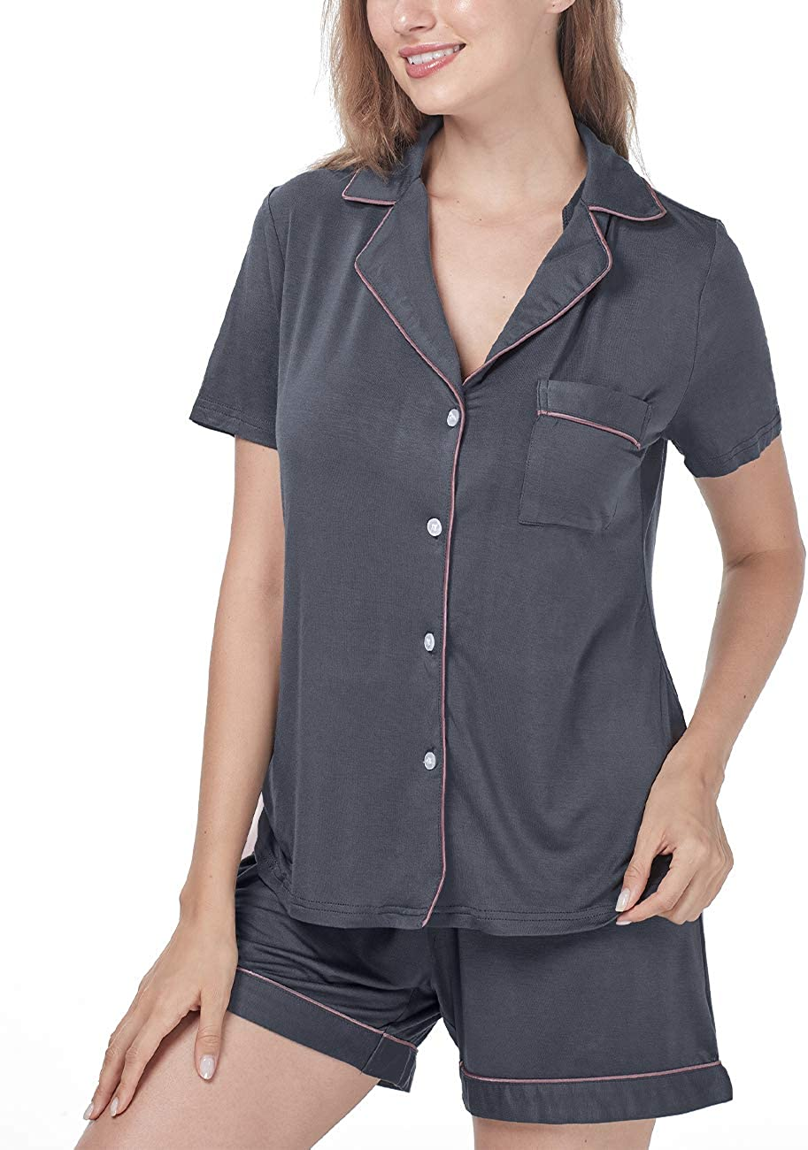 Menore Womens Pajamas Set Comfy Soft Short Sleeve Sleepwear Ladies Button Down Pajamas Nightwear Soft Pj Lounge 2 Piece Sets
