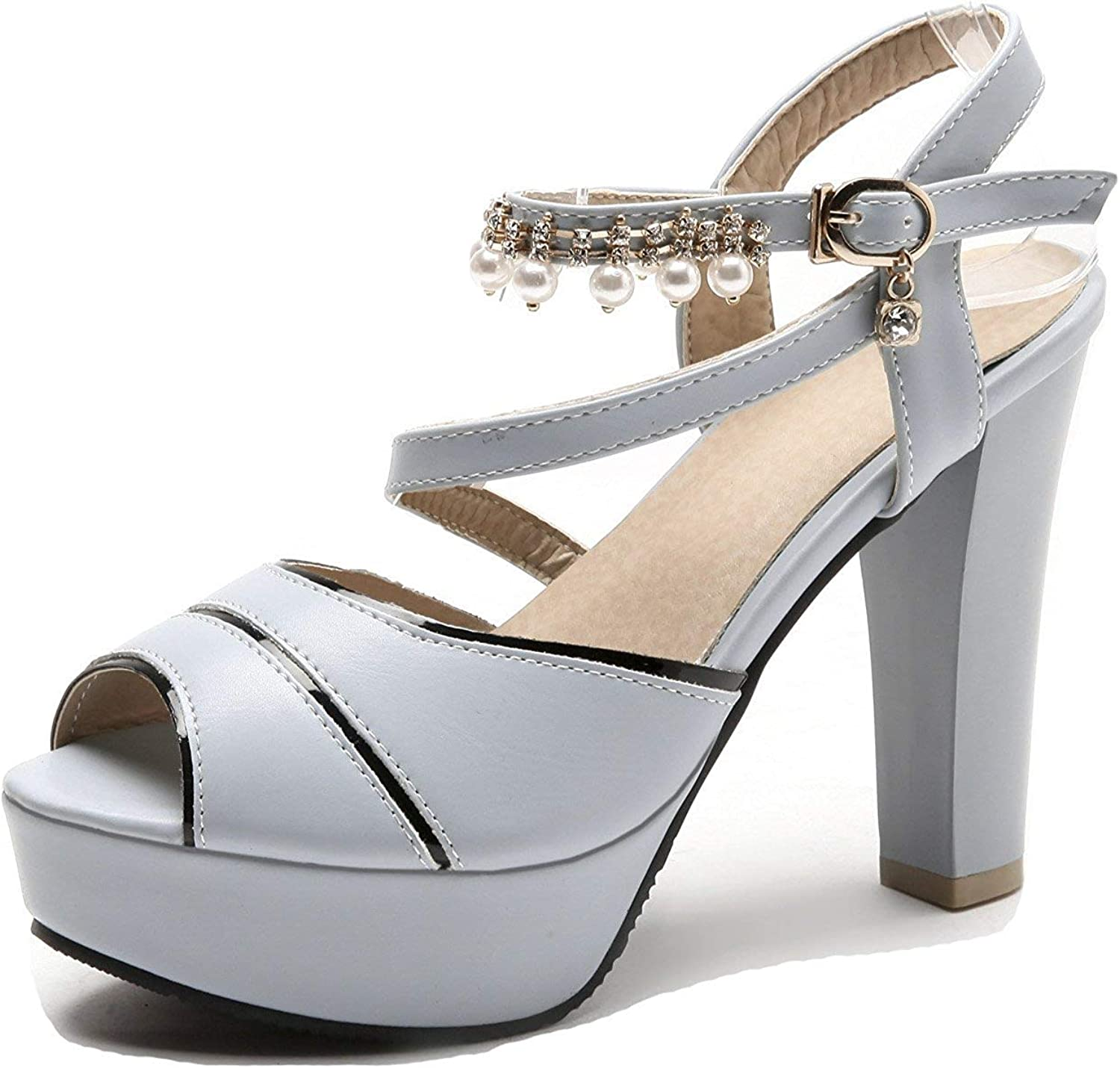 Unm Women's Platform Sandals with Ankle Strap - Beaded Peep Toe Chunky - Buckled High Heels