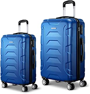 Wanderlite 2 Pcs Lightweight Luggages Hard Suitcases and Scale, Blue