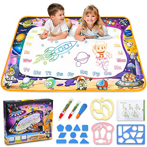 Aqua Magic Mat - Kids Painting Writing Doodle Board Toy - Color Doodle Drawing Mat Bring Magic Pens Educational Toys for Age 2 3 4 5 6 7 8 9 10 11 12 Year Old Girls Boys Age Toddler Gift