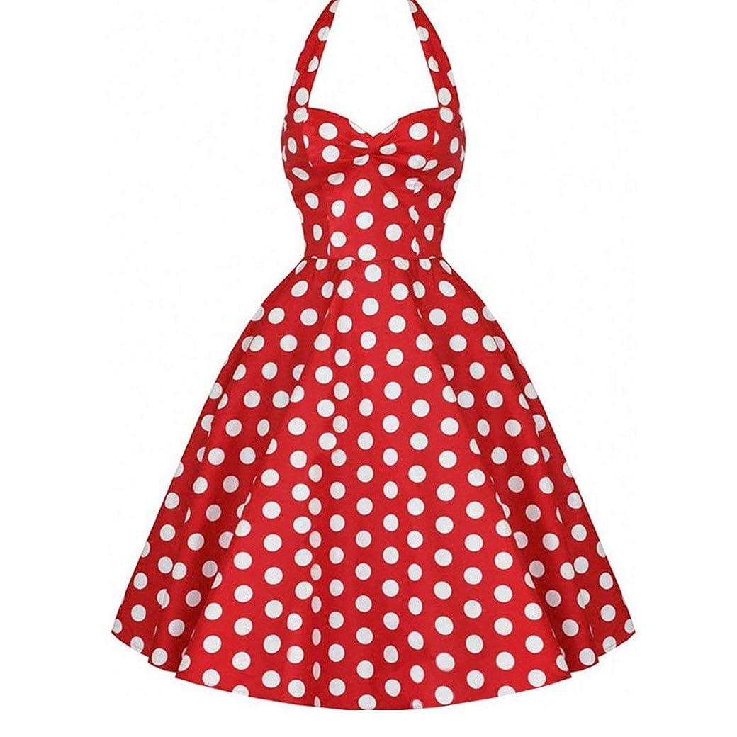 定期的な気になるよろめくヴィンテージドットパターンノースリーブレディードレス中層イブニングドレススリムカット大きな裾プリンセスドレスホルターネックバブルドレス-赤M