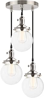 Phansthy Industrial Ceiling Light 3 Light Vintage Chandelier Light Fixture with 5.9 Inches Glass Lamp Shade,Brushed Nickel