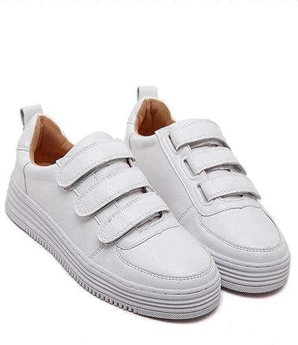 L@YC Chaussures Plates Femmes Cuir Chaussures Décontracté ¨ Tudiants au Printemps Peu Blanc Chaussures Blanc