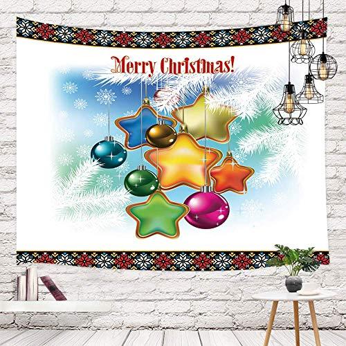 Tapestry Feliz Navidad para colgar en la pared, colorida bola de Navidad con copo de nieve de estrella en la decoración de pared de pino abeto creativo WallBedding, Tapestries 80X60inch