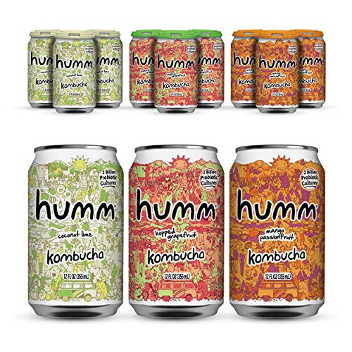 Humm Probiotic Kombucha Island Paradise Pack - 2 Billion Probiotics for Gut Health - Mango Passionfruit, Hopped Grapefruit and Coconut Lime (24 Pack)