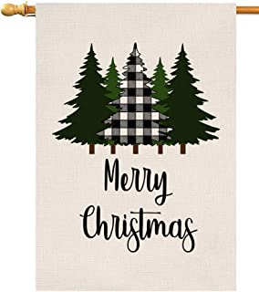 BLKWHT Buffalo Black Christmas Tree House Flag Vertical Double Sided Inch Farmhouse Yard Outdoor Decor 28 x 40