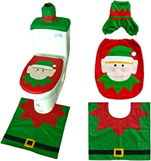 YZZ Snowman Santa Toilet Seat Cover Tissue Box Cover Tank Lid Cover Merry Christmas,A2