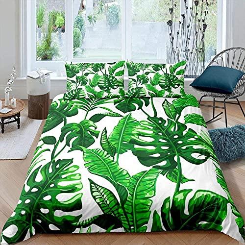 Meimall Juego De Ropa De Cama Verde Hojas Plantas Arte 240X220 Cm Reversible, 100% Microfibra Suave Y Agradable, 1 Funda Nórdica Y Funda De Almohada De 50X75Cm con Cremallera
