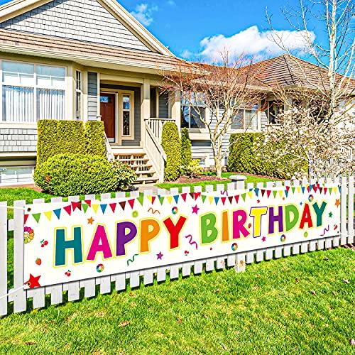 Extra Lange banner geburtstag,Large Happy Birthday Banner,Geburtstagsfeier Dekorationen Banner für Männer und Frauen, Geburtstagsbanner geeignet für Innen- und Außenhöfe,300X50 cm