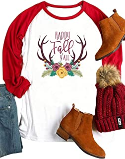 KIDDAD Women Plus Size Christmas Deer Printed Happy Fall Y'all 3/4 Raglan Splicing Sleeve T-Shirt