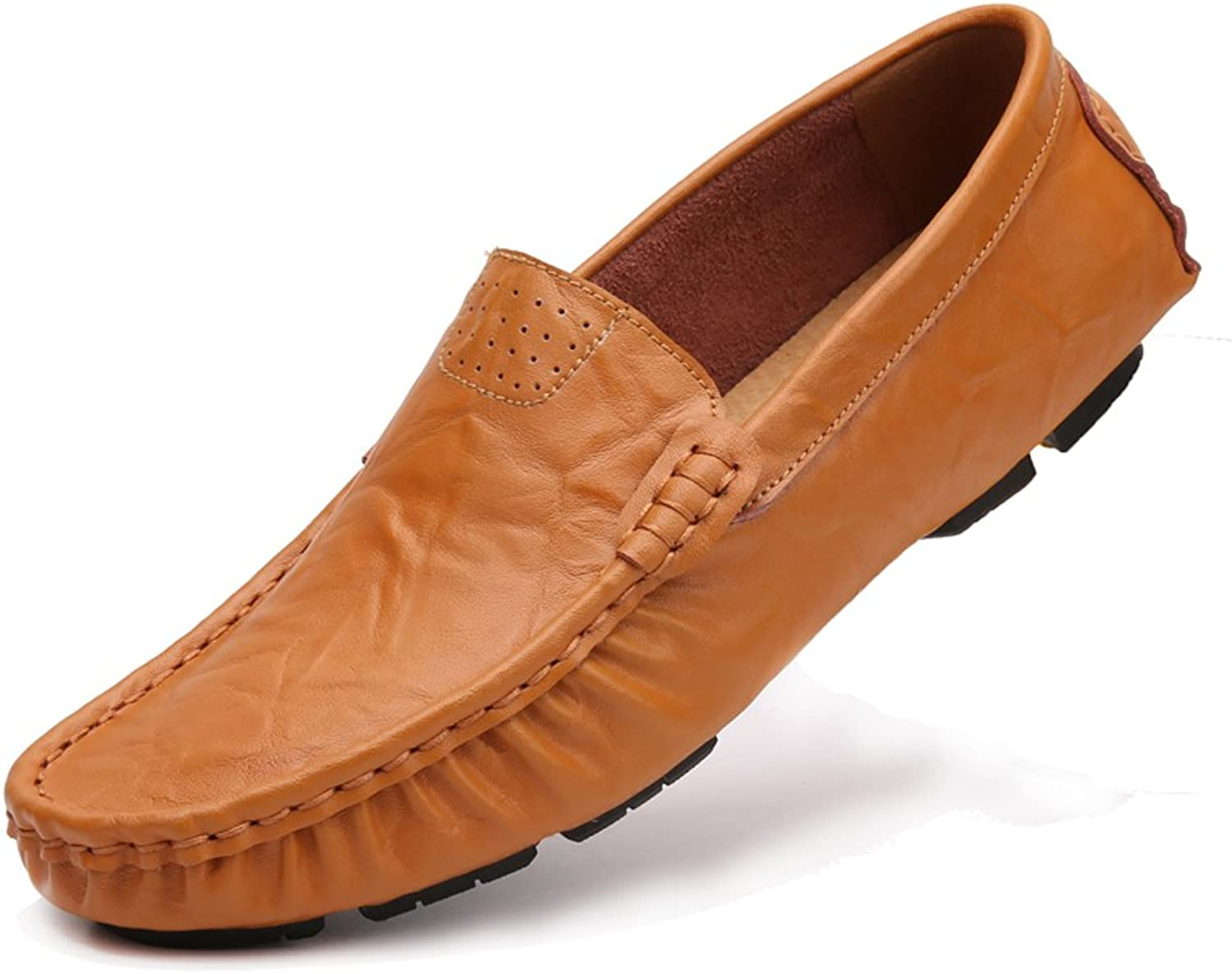 Ailishabroy Men's Slip On Driving shoes Genuine Leather Loafers Mens Moccasins Large Size 48