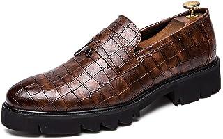[CHENJUAN] 靴メンズビジネスオックスフォード先のとがったつま先厚底スプライスデザインタスル装飾スリップオンフォーマルシューズ