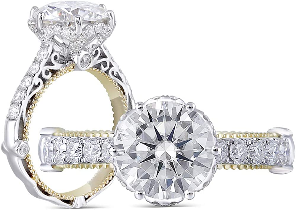 DovEggs Solid 14k White Gold Yellow Gold 1.5ct Center 7.5mm G-H-I Color Cut Vintage Moissanite Engagement Ring Solitare with Accents Band Width 3.4mm