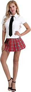 FEESHOW Women's 3Pcs Mini Schoolgirls's Uniform Lingerie Set with Tie Costume Role Play Cosplay Outfit Plaid Skirt White&R...