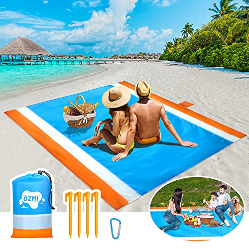 beach mat for adults OZMI Beach Accessories Beach Blanket Sandproof, Beach Mat Sand Free Waterproof, Oversized Outdoor Beach Picnic Blanket for 5-8 Adults, Foldable Lightweight for Travel, Camping, Hiking (83