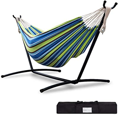 Sibosen Hammock with Stand, Portable Double Cotton Hammock 2-Person Heavy Duty Hammock with Space Saving Steel Stand & Carrying Bag for Patio Outdoor Lawn Yard & Indoor, 450 lb Capacity, Blue/Green