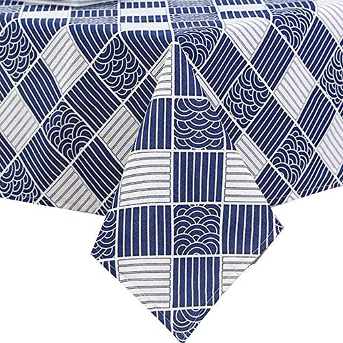 NorthShore Linen Cotton Blue Geometric Rectangle Table Cloth Wrinkle Free Anti-Fading Solid Design Tablecloths Washable Dust-Proof for Kitchen Dining Party - (4.98 x 6.98 Feet, Blue Geometric)