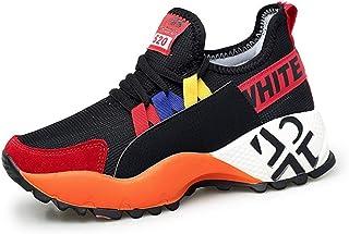 Zapatillas de Deporte de Plataforma para Mujer Malla de Tejido Transpirable de Encaje con Cordones Low Top Light Antidesli...