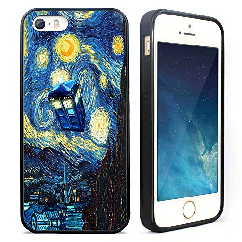 iPhone 5S Case,iPhone SE Case,The Starry Night Doctor Who Case,Hybrid TPU PC Printed Cover with Aluminum Metal Vincent Van Gogh