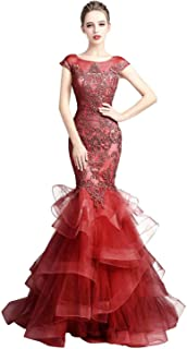 Belle House Women Long Prom Dress Capped Sleeve Mermaid Evening Ball Gown Beaded Wedding Party Dress
